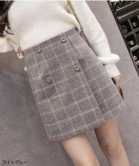 スカート レディース?チェック柄 台形スカート Aライン ミニスカート インナーパンツ付き バックファスナー