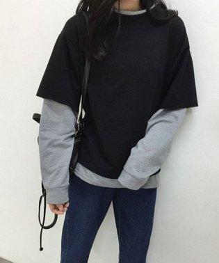パーカー 重ね着風 長袖 大きいサイズ レイヤード スウェット ドッキング