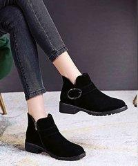 ブーツ レディース ショートブーツ レディースヒール 靴 太めヒール 2TYPE 美脚 歩きやすい
