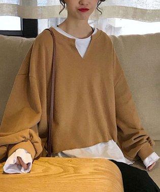 重ね着風パーカーレディース Tシャツ カットソー インナー2点セット ゆったり レイヤード風 チュニック 切替 バイカラー