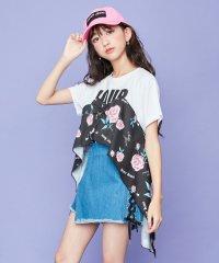 花柄フリルロゴ半袖ロング丈Tシャツ