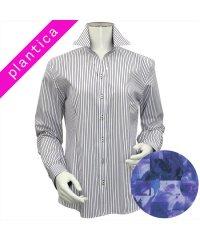 ウィメンズシャツ 長袖 形態安定 スキッパー衿 白×パープルストライプ