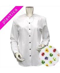 ウィメンズシャツ 長袖 形態安定 スキッパー衿 白×織柄(透け防止)