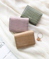 シャイニースモールクロコ 三つ折りミニ財布