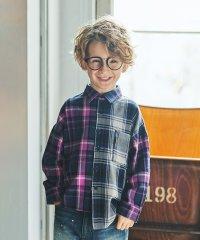 切替えチェック長袖シャツ(90~150cm)