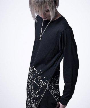 Bernings Sho【バーニングショー】ペイント柄サイドジップクルーネック長袖 Tシャツ