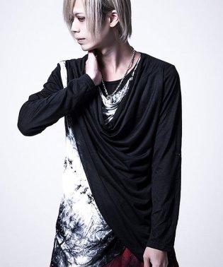 Bernings Sho【バーニングショー】ムラ染めドレープ長袖 Tシャツ