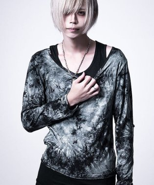 Bernings Sho【バーニングショー】ムラ染めクルーネック長袖 Tシャツ×タンクトップ