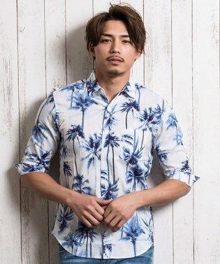 SB select【シルバーバレットセレクト】ヤシの木柄レギュラーカラー7分袖シャツ