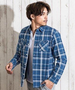 SB select【シルバーバレットセレクト】インディゴチェックレギュラーカラー長袖ワークシャツ