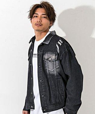 CavariA【キャバリア】バックプリントバラ刺繍ビッグシルエットデニムジャケット
