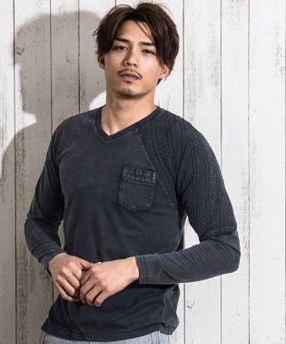 CavariA【キャバリア】天竺×ニット切り替えVネック長袖 Tシャツ