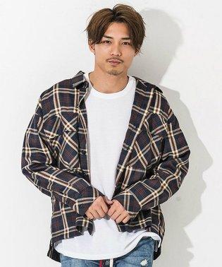 CavariA【キャバリア】フラップポケット付きビッグシルエット長袖チェックシャツ