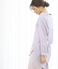 裾スリットチュニックシャツ