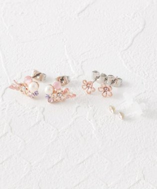 蝶花モチーフセットピアス