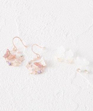 蝶花モチーフサークルセットピアス
