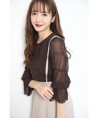 【美人百花3月号掲載】カットワーク刺繍袖透けニット