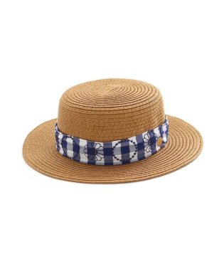 ギンガム刺繍カンカン帽