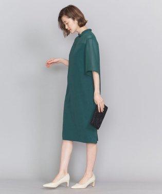 BY DRESS ツイル×ジョーゼットスタンドカラードレス