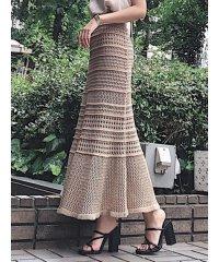 鈎針風ニットマキシスカート