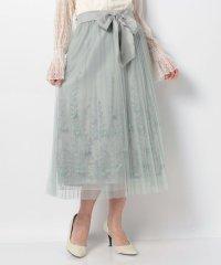裏地刺繍プリーツチュールスカート