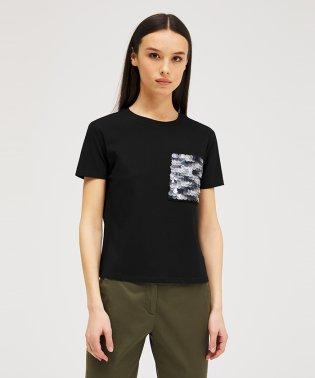 スパンコールポケット付き半袖Tシャツ
