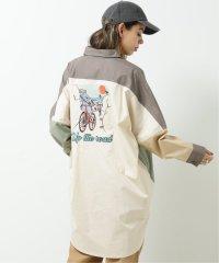 サイクリングバック刺繍シャツワンピース