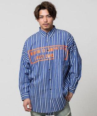 CavariA【キャバリア】ストライプ柄蛍光プリントレギュラーカラー長袖ビッグシャツ