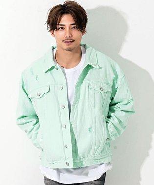 CavariA【キャバリア】ダメージ加工カラーデニム長袖ビッグジャケット