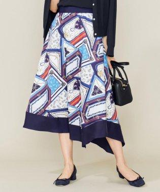 【洗える】マリンスカーフプリント スカート