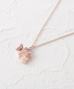 蝶花モチーフぐるりプチネックレス