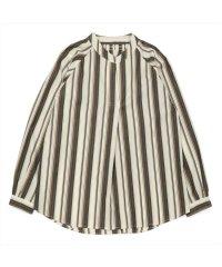 長袖カジュアルシャツ 衿ぐりシャーリングチュニック 白×ブラウン系ストライプ