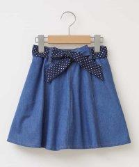 [100-130]【洗える】インナーパンツ付きデニムスカート[WEB限定サイズ]