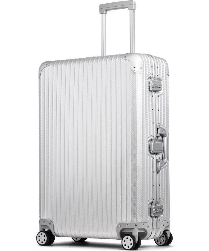 (tavivako/タビバコ)【PROEVO】 スーツケース アルミマグネシウム合金 L 大型 アルミニウムボディ キャリーバッグ キャリーケース 8輪 ストッパー 予備キャスター付属/ユニセックス シルバー系1