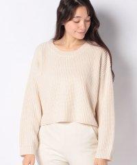 片畦編みショート丈ニットセーター