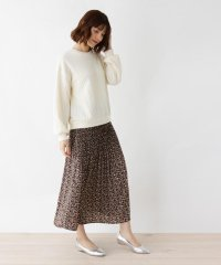 【LLあり】ふくれケーブルプルオーバー+フラワープリーツスカートセット