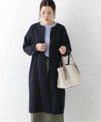 ノーカラー2重織りコート