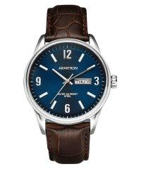 ARMITRON 腕時計 アナログ シルバートーン ブラウンレザーウォッチ