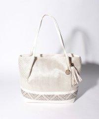 【Via Demizon ビアデミゾン】細かな織柄とビジューコンビのトートバッグ
