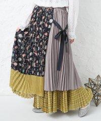 『somari花柄切替プリーツスカート』