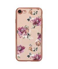 74309-3 iPhone8 rienda[メッキクリアケース/Brilliant Flower/バーガンディー]