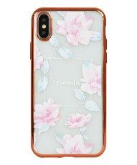 74310-2 iPhoneXS rienda[メッキクリアケース/Lace Flower/ピンク]