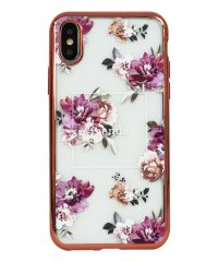 74310-3 iPhoneXS rienda[メッキクリアケース/Brilliant Flower/バーガンディー]