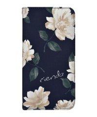 md-74272-2 iPhoneXS Max rienda[全面/Lace Flower/ネイビー]手帳ケース