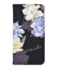 md-74272-3 iPhoneXS Max rienda[全面/Layer Flower/ブラック]手帳ケース