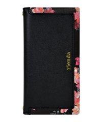 md-74276-1 iPhoneXS Max rienda[スクエア/Emerges Flower/ブラック]手帳ケース
