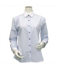 長袖 形態安定 クレリック レギュラー衿 綿100% サックスストライプ