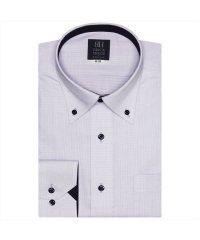 ワイシャツ 長袖 形態安定 ボタンダウン 白×パープル刺子風柄 標準体