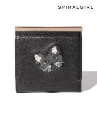 【SPIRALGIRLスパイラルガール】猫ちゃん刺繍二つ折りコンパクト財布