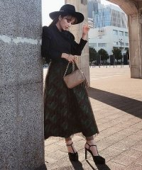 【Feminity】 jaquard pleats dress